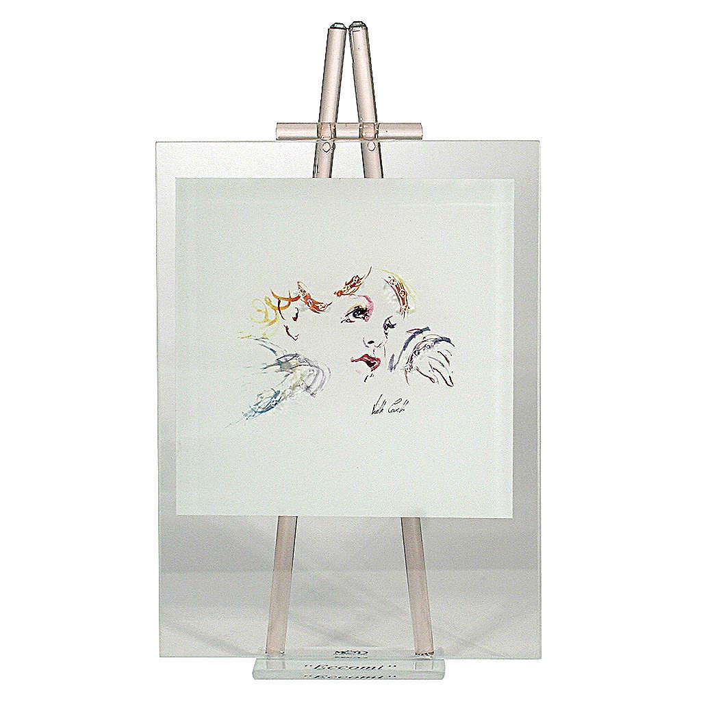 Quadretto acquarello Eccomi da appoggio rosa 24x14 cm 3