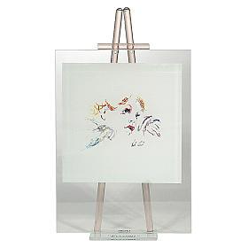 Quadretto acquarello Eccomi da appoggio rosa 24x14 cm s1
