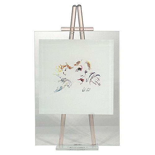 Quadretto acquarello Eccomi da appoggio rosa 24x14 cm 1