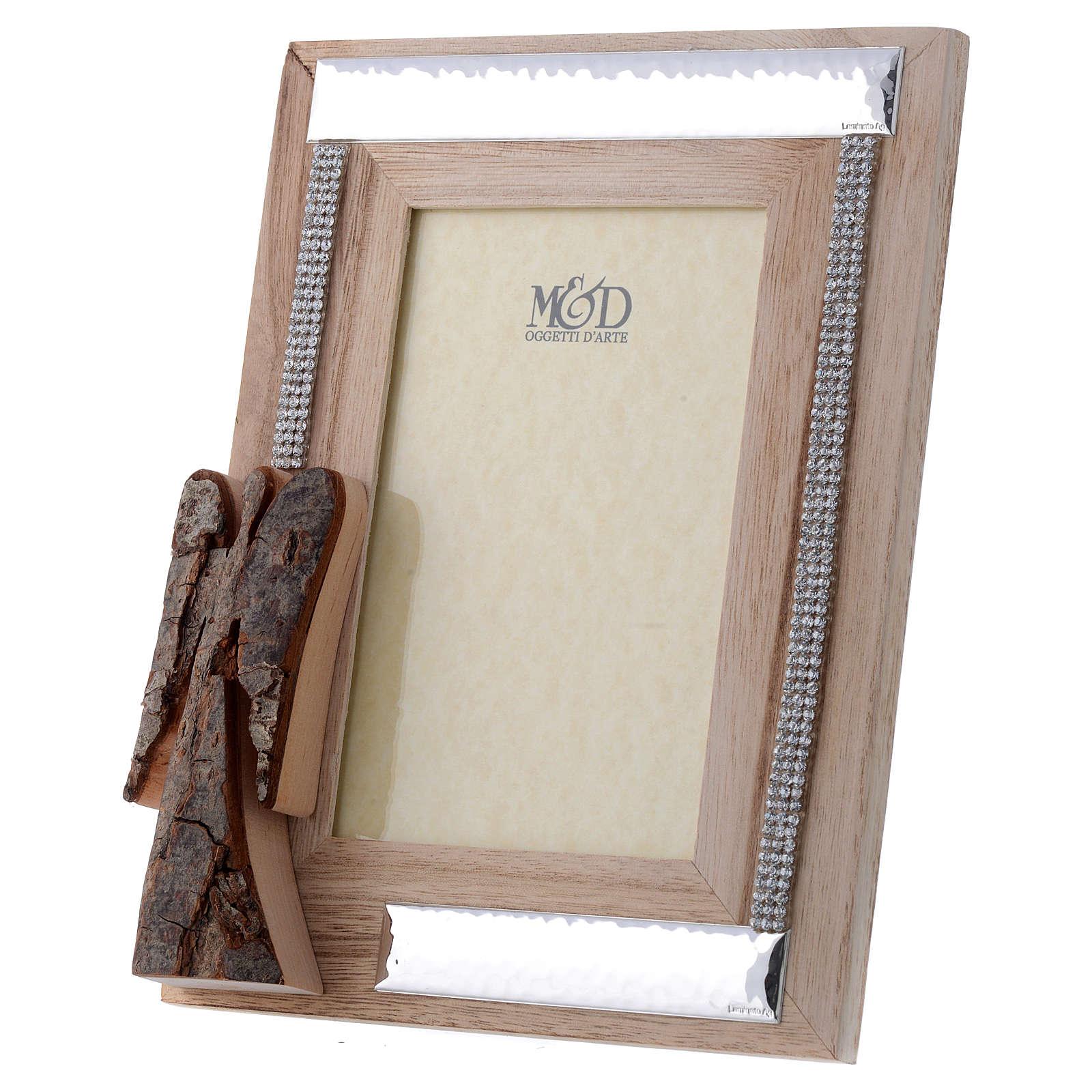 Portafoto in legno argento e strass angelo corteccia 22x17 cm 3