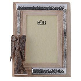 Portafoto in legno argento e strass angelo corteccia 22x17 cm s1