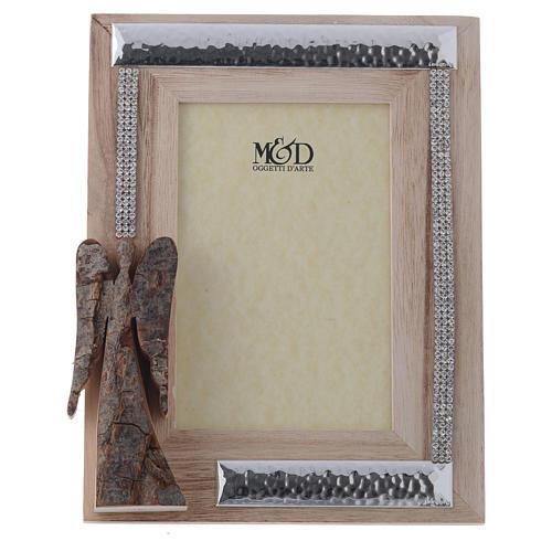 Portafoto in legno argento e strass angelo corteccia 22x17 cm 1