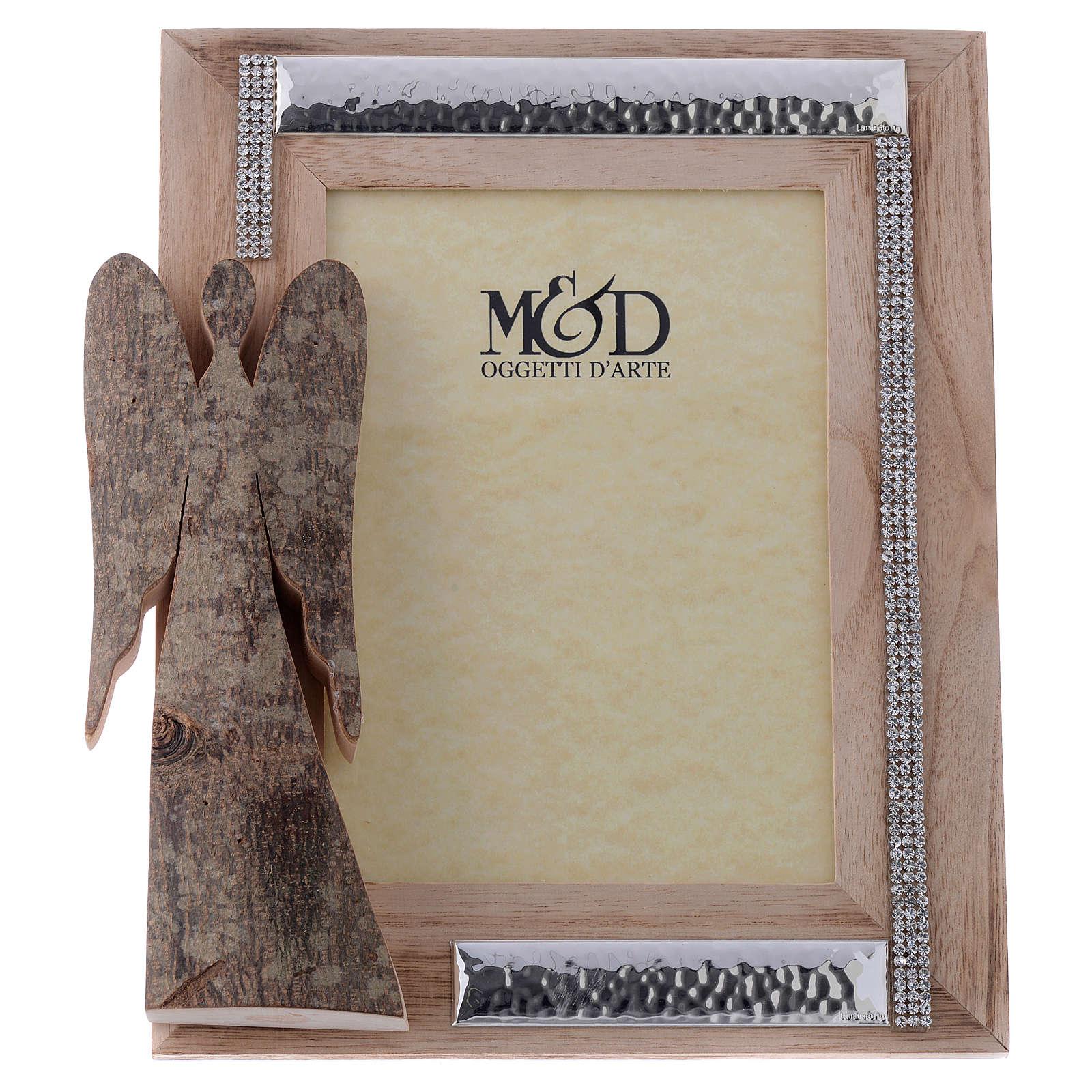 Portafoto in legno argento e strass angelo corteccia 25x21 cm 3