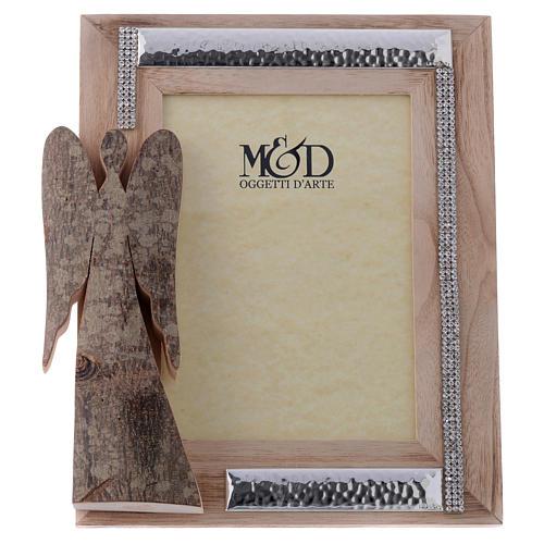 Portafoto in legno argento e strass angelo corteccia 25x21 cm 1