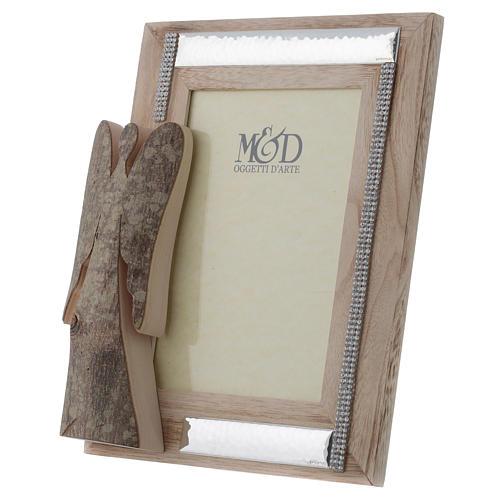 Portafoto in legno argento e strass angelo corteccia 25x21 cm 2