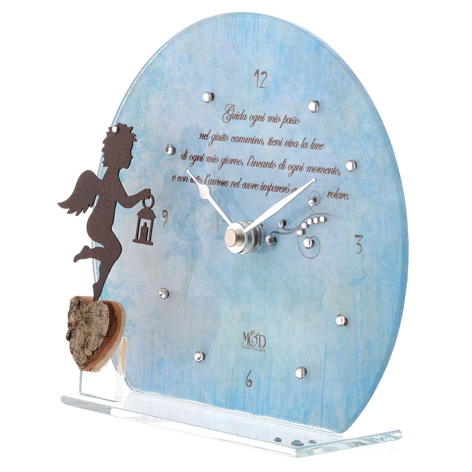 Orologio Angelo con poesia Blu 3