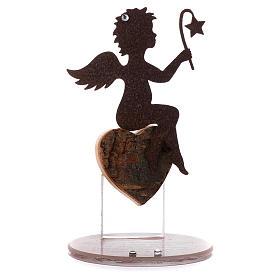 Souvenirs y Recuerdos Sacros: Ángel en metal base vidrio y frase 11,5 cm rosa
