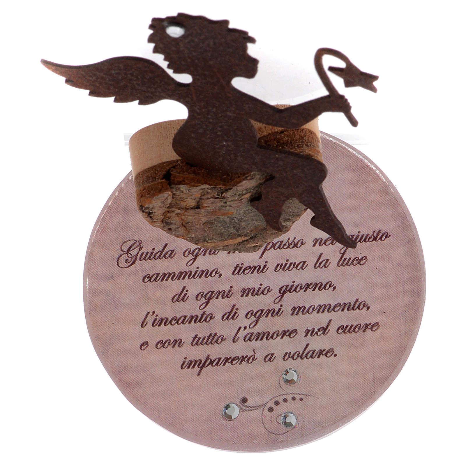 Angelo in metallo base vetro frase cm 11,5 rosa 3