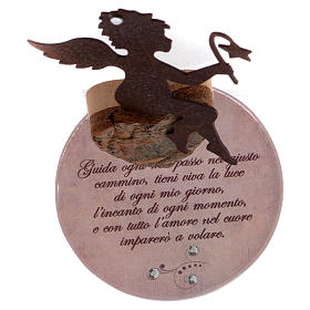 Angelo in metallo base vetro frase cm 11,5 rosa s4