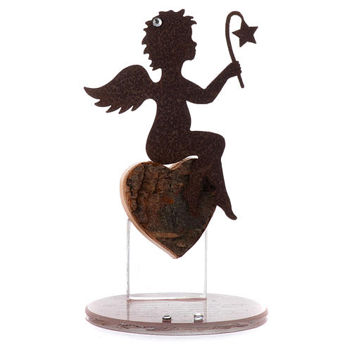 Angelo in metallo base vetro frase cm 11,5 rosa 1