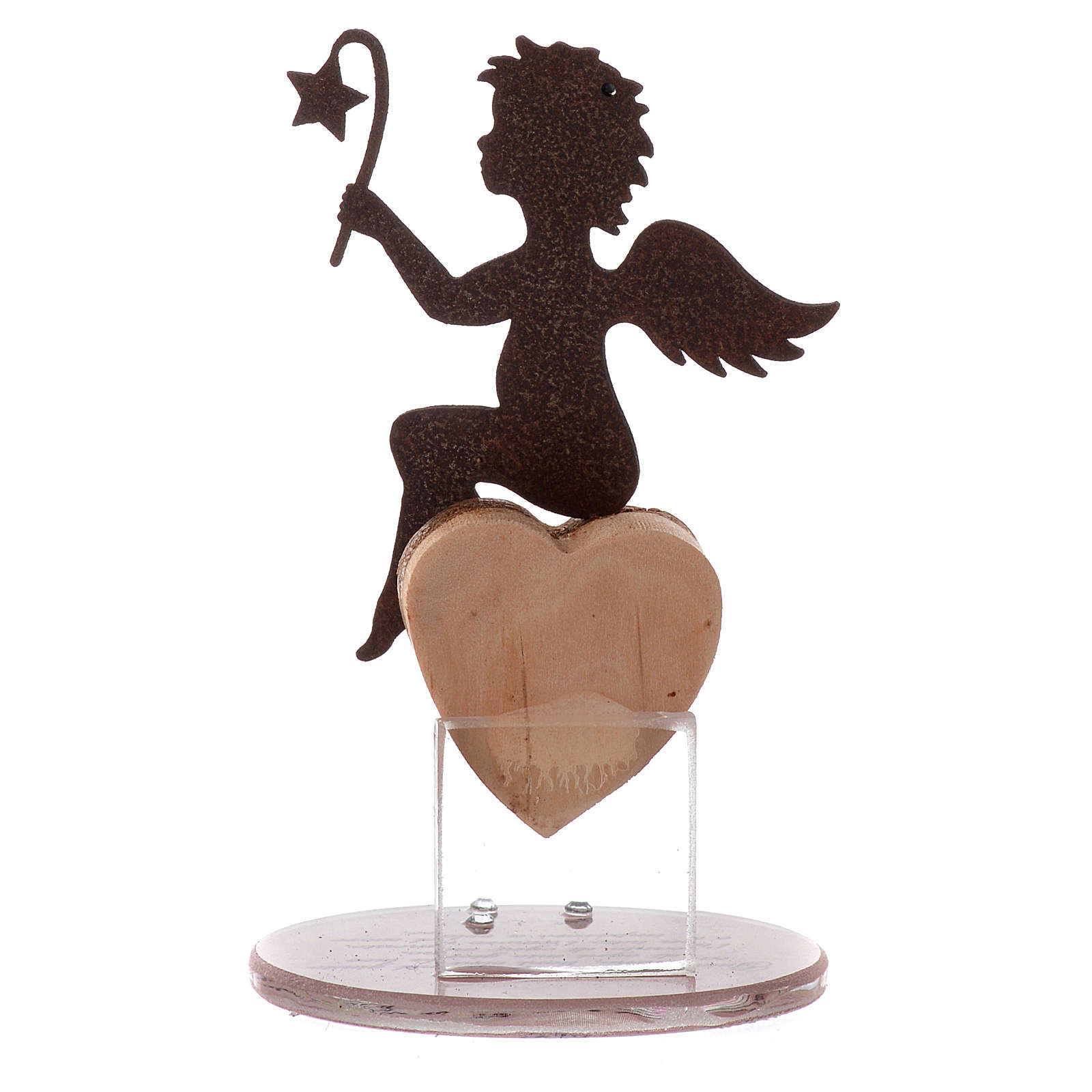 Angel figure in metal with glass base and sentence 11.5cm 3