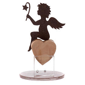 Angel figure in metal with glass base and sentence 11.5cm s3