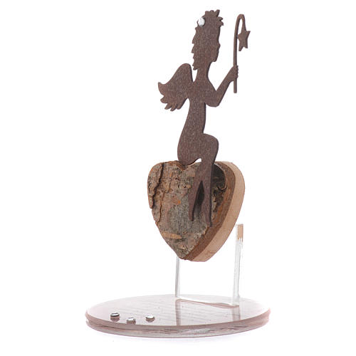 Angel figure in metal with glass base and sentence 11.5cm 2