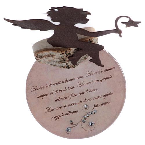 Angelo in metallo con frase base rosa cm 20 4