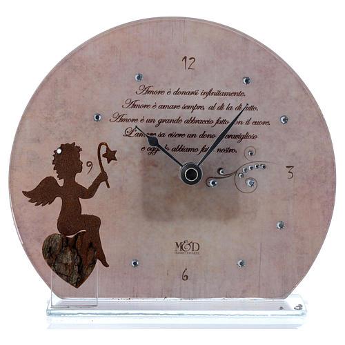 Orologio rosa in vetro con angioletto e frase 1