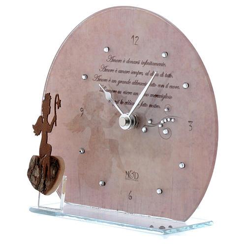 Orologio rosa in vetro con angioletto e frase 2