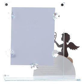 Portafoto vetro con angelo e frase rosa 14,5x15 cm s3