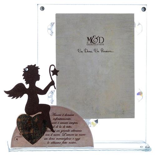 Portafoto vetro con angelo e frase rosa 14,5x15 cm 1