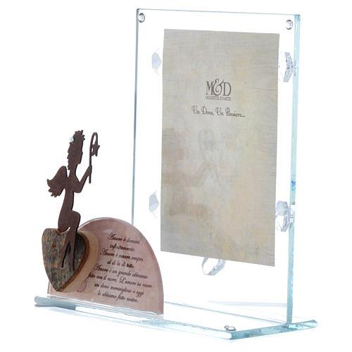 Portafoto vetro con angelo e frase rosa 14,5x15 cm 2