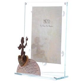 Portafoto in vetro Angelo rosa 14x20 cm s2