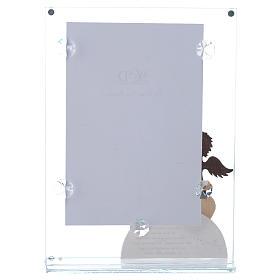 Portafoto in vetro Angelo rosa 14x20 cm s3