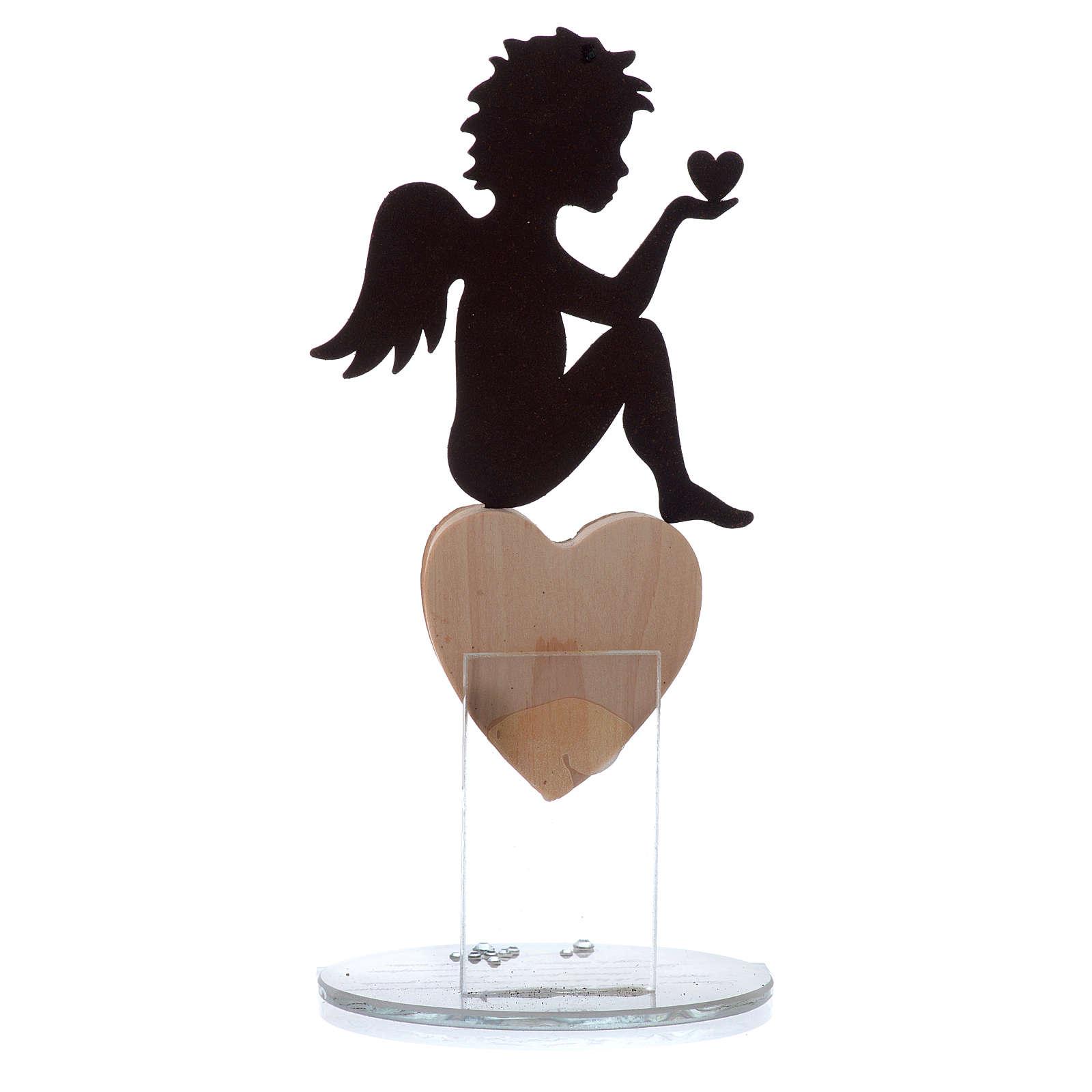 Ángel con corazón y frase de amor base blanca h.20 cm 3