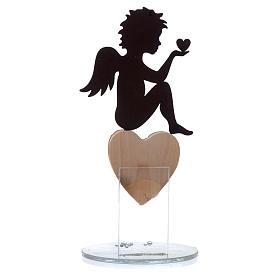Ángel con corazón y frase de amor base blanca h.20 cm s2