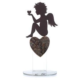 Ángel con corazón y frase de amor base blanca h.20 cm s4