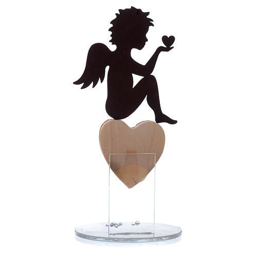 Ángel con corazón y frase de amor base blanca h.20 cm 2