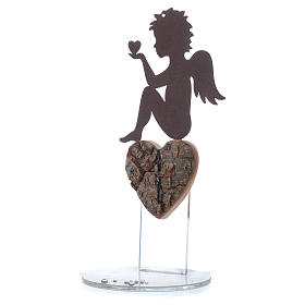 Angelo con cuore e frase amore base bianca h. 20 cm s1
