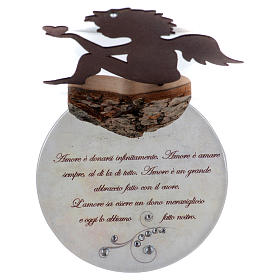 Angelo con cuore e frase amore base bianca h. 20 cm s3
