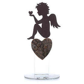 Angelo con cuore e frase amore base bianca h. 20 cm s4