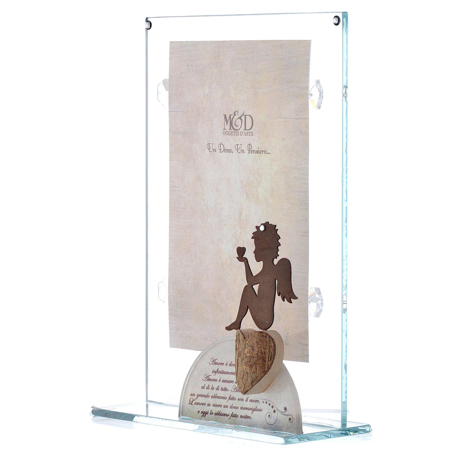 Portafoto in vetro con angelo bianco 14x20 cm 3
