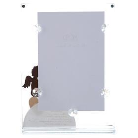 Portafoto in vetro con angelo bianco 14x20 cm s3