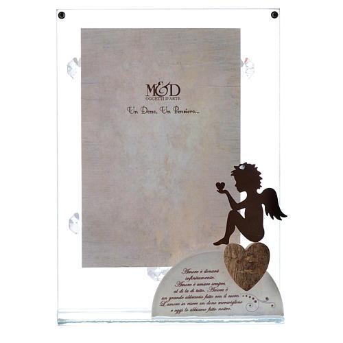 Portafoto in vetro con angelo bianco 14x20 cm 1