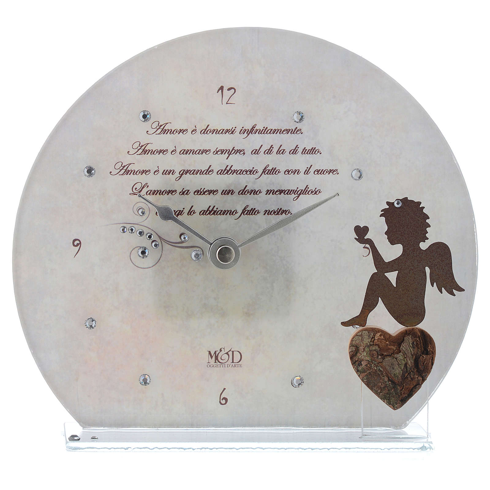 Clock in glass with angel and sentence, white 3
