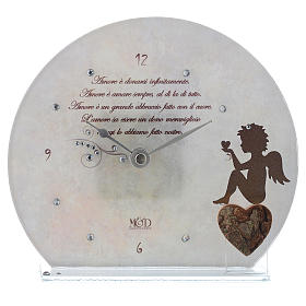 Clock in glass with angel and sentence, white s1