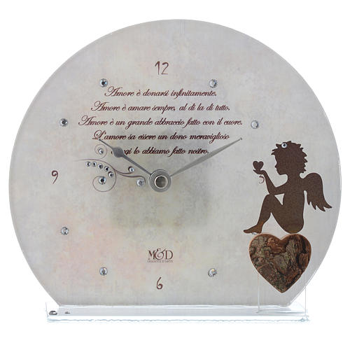 Clock in glass with angel and sentence, white 1