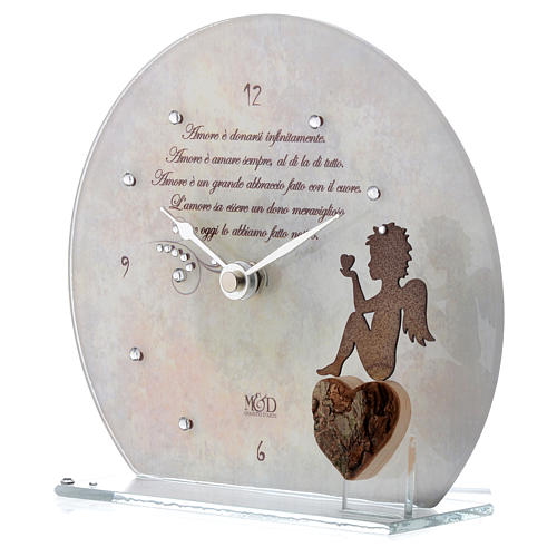 Clock in glass with angel and sentence, white 2