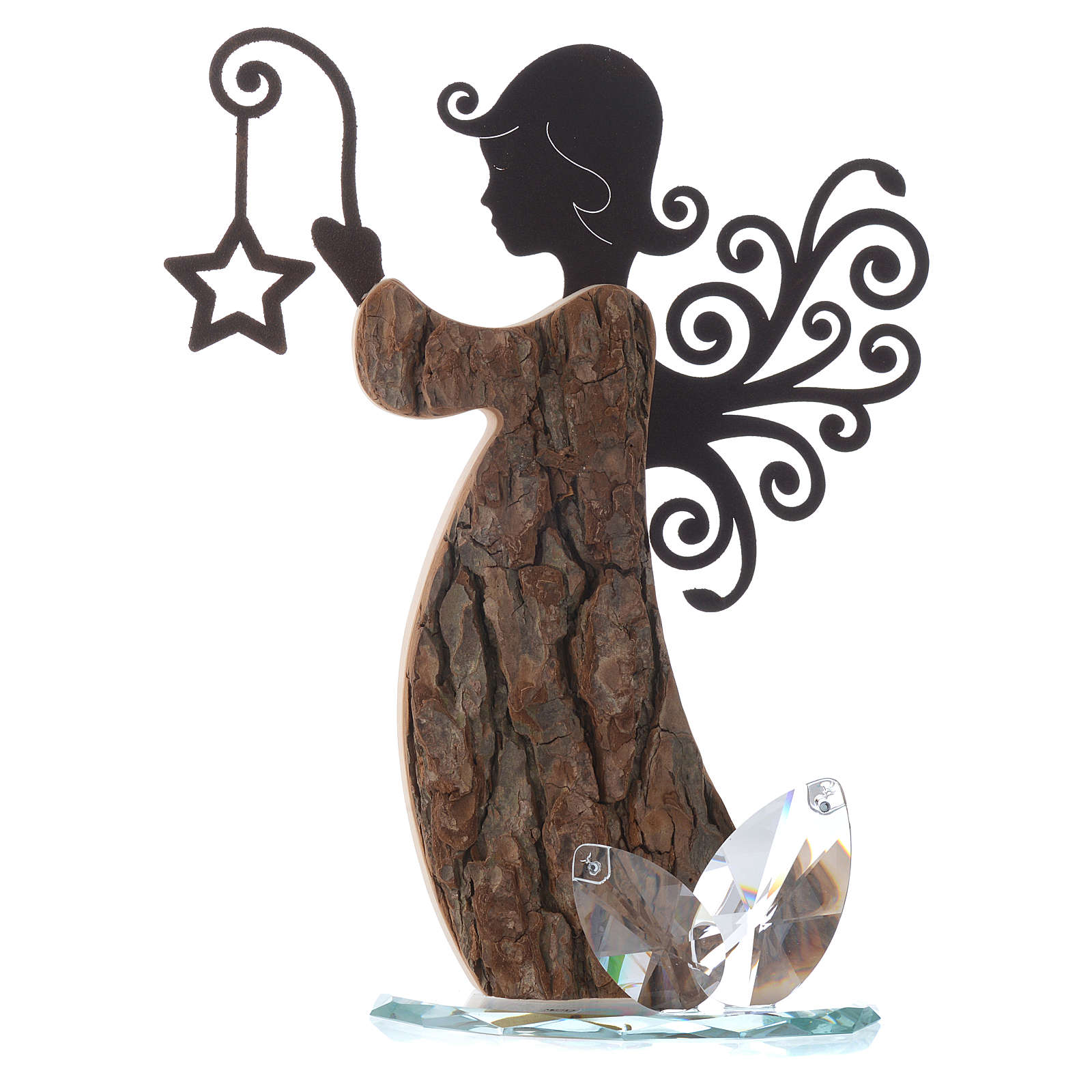 Angel figure in wood and metal with base in crystal 26cm 3