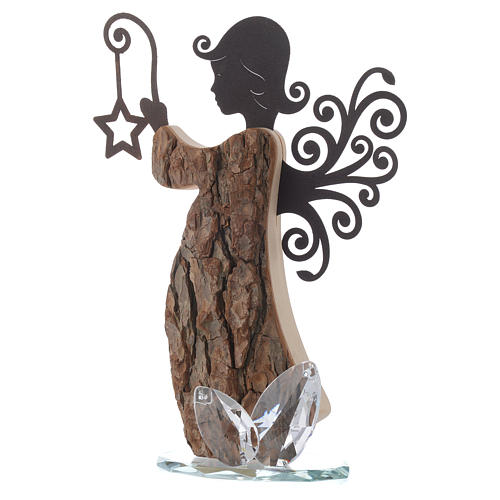 Angel figure in wood and metal with base in crystal 26cm 2