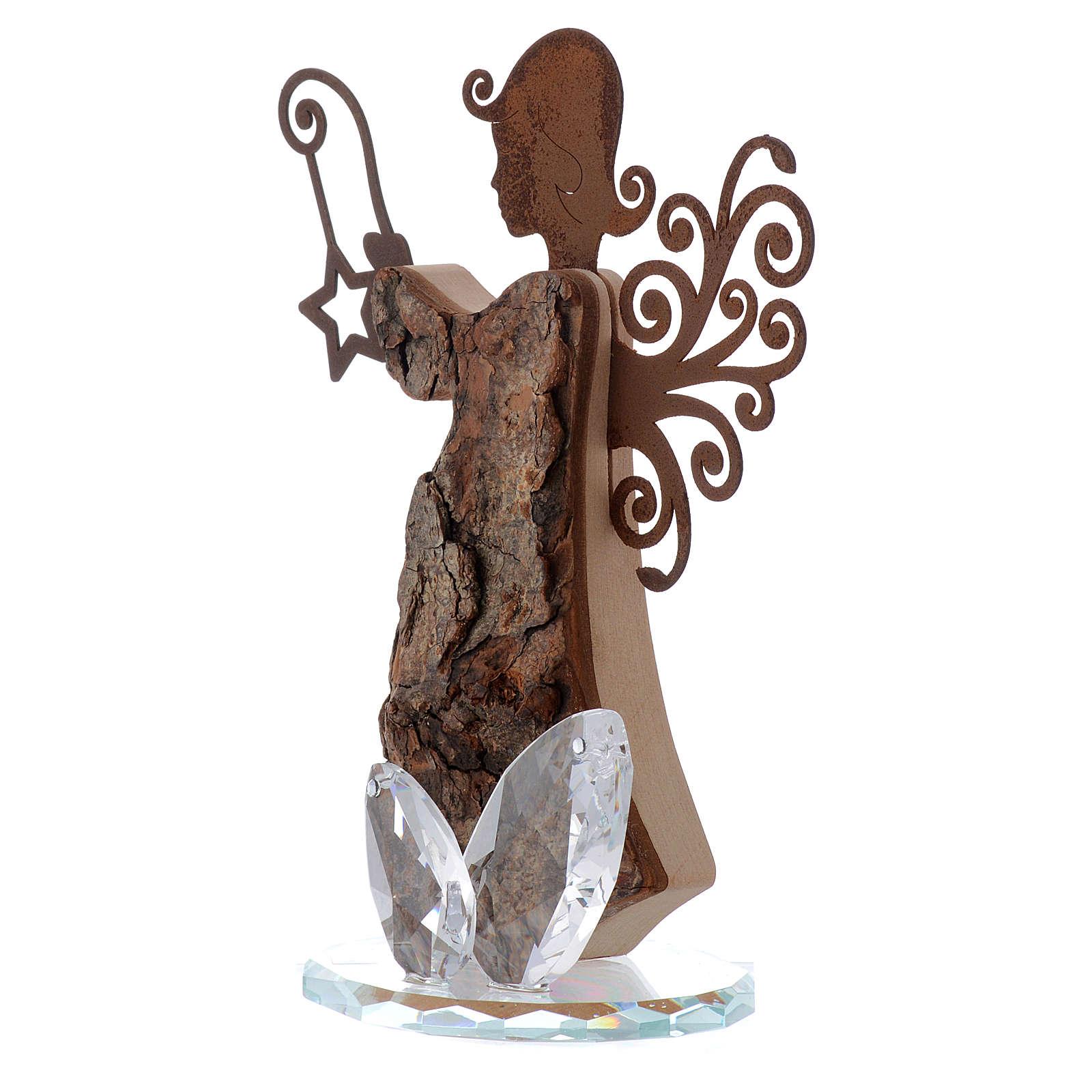 Angelo in Corteccia e metallo h 16cm base in cristallo 3