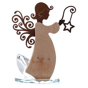 Angel figure in bark and metal 16cm with base in crystal s3