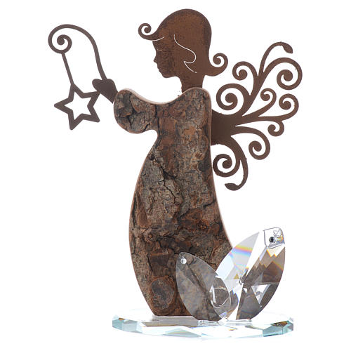 Angel figure in bark and metal 16cm with base in crystal 1