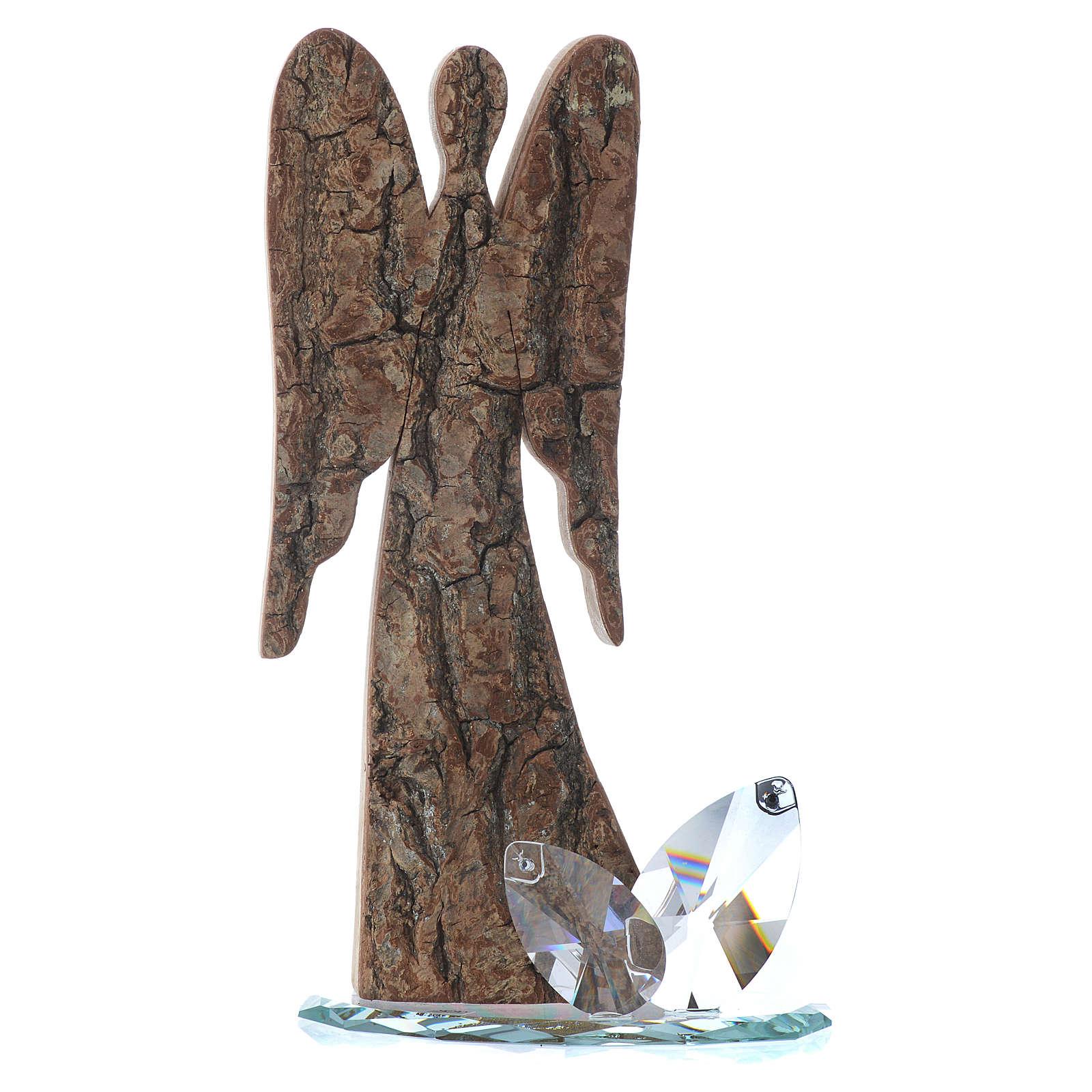 Sculpture ange en bois et base cristal h 26 cm 3