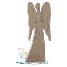 Sculpture ange en bois et base cristal h 26 cm s3