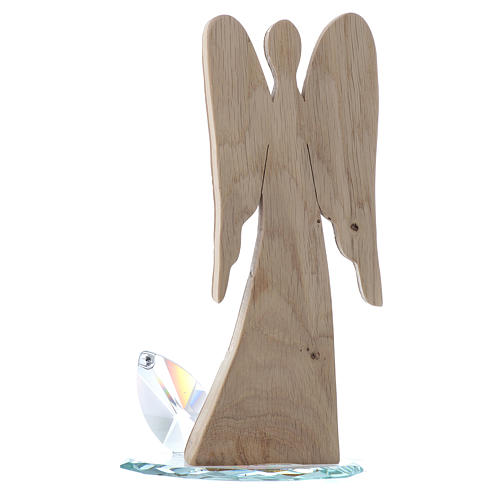 Angel figure in wood with crystal base 26cm 3