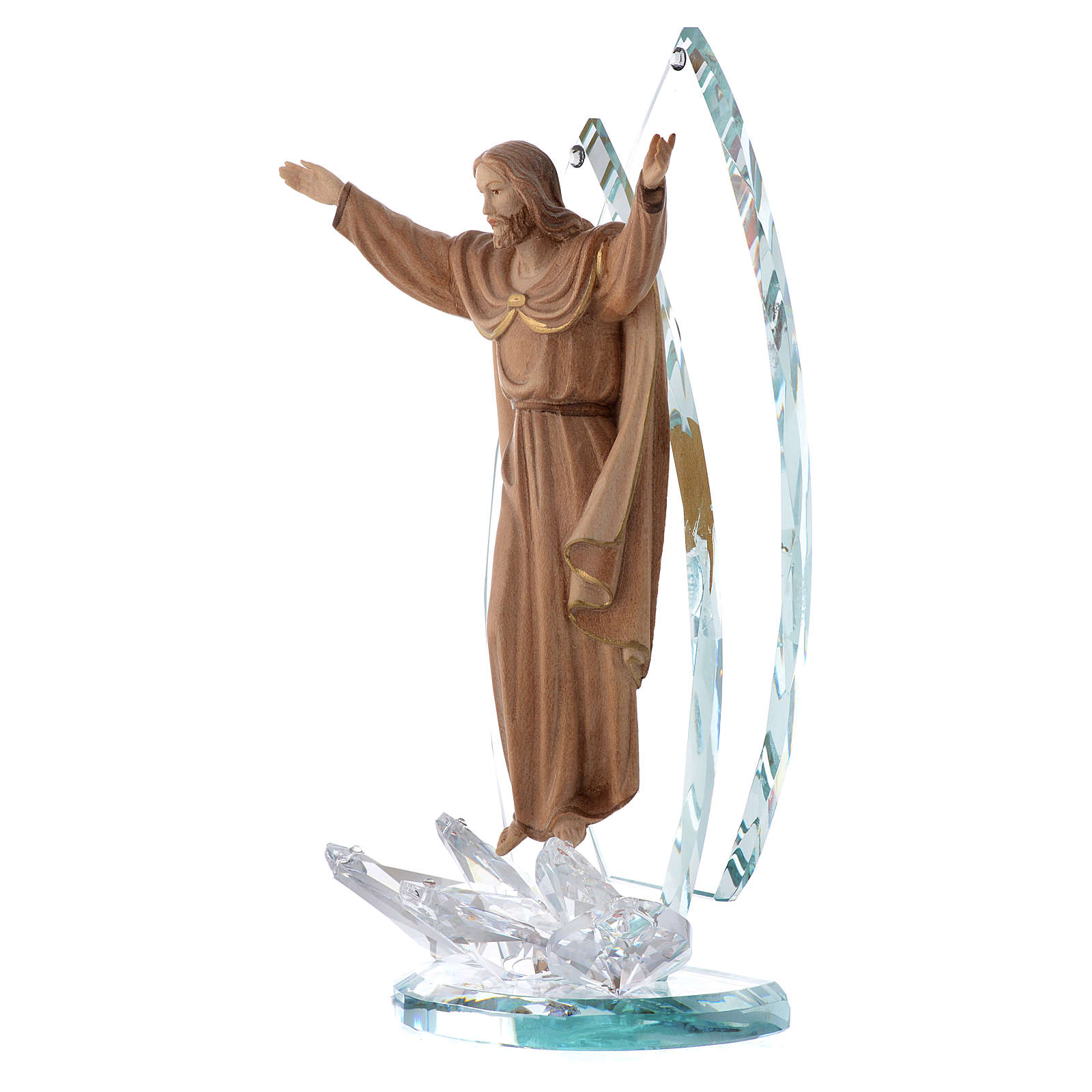 Scultura legno e cristallo Cristo Risorto h cm 21 3