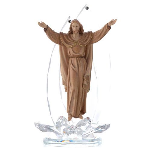 Scultura legno e cristallo Cristo Risorto h cm 21 1