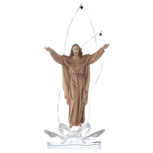 Sculpture bois Christ Ressuscité h 31 cm avec cristaux 1